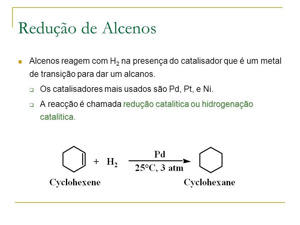 Redução de Alcenos Alcenos reagem com H2 na presença do catalisador que é um metal de transição para dar um alcanos.