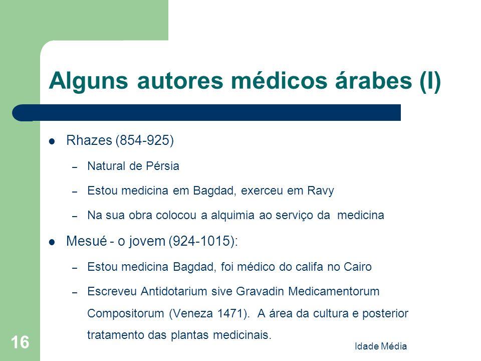 Alguns autores médicos árabes (I)