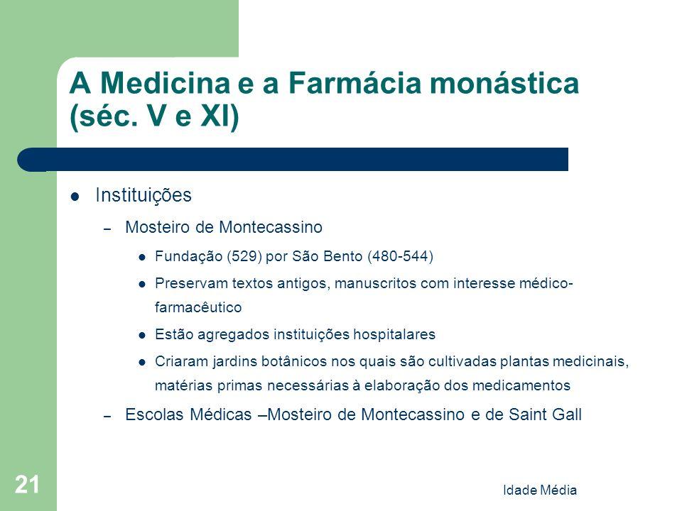 A Medicina e a Farmácia monástica (séc. V e XI)