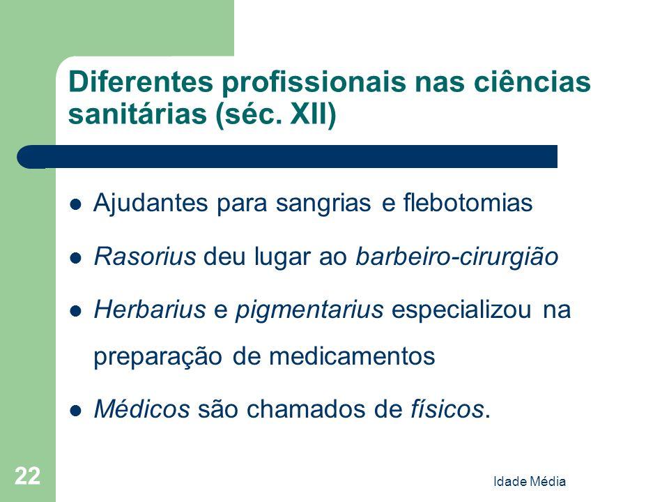Diferentes profissionais nas ciências sanitárias (séc. XII)
