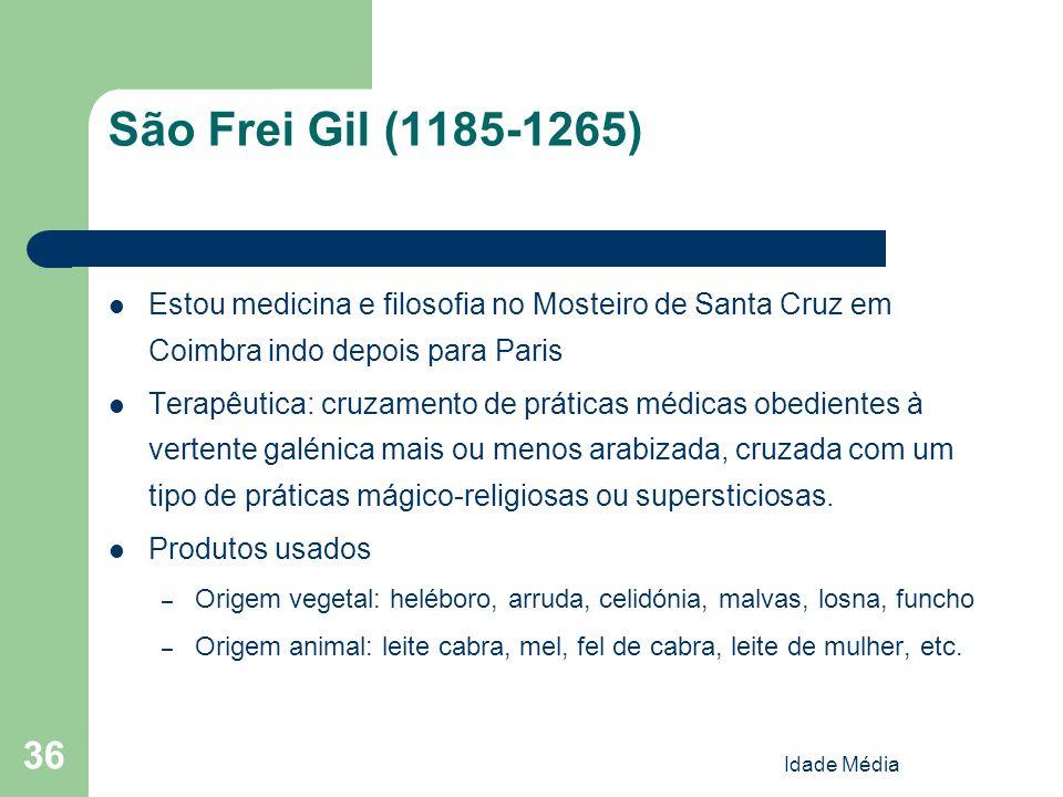 São Frei Gil (1185-1265) Estou medicina e filosofia no Mosteiro de Santa Cruz em Coimbra indo depois para Paris.