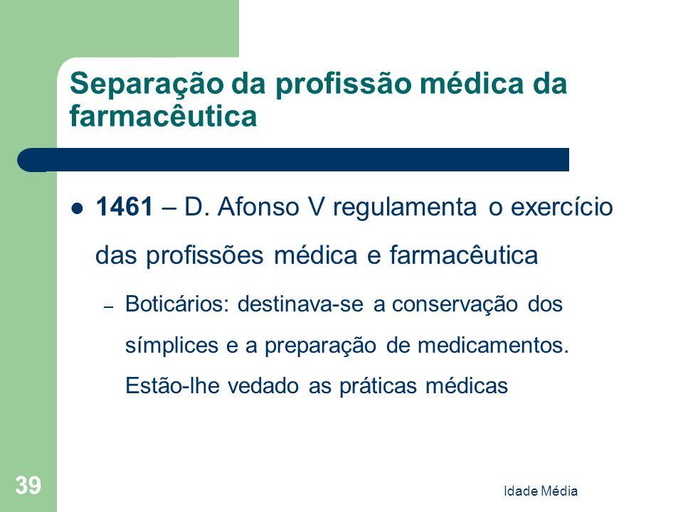 Separação da profissão médica da farmacêutica