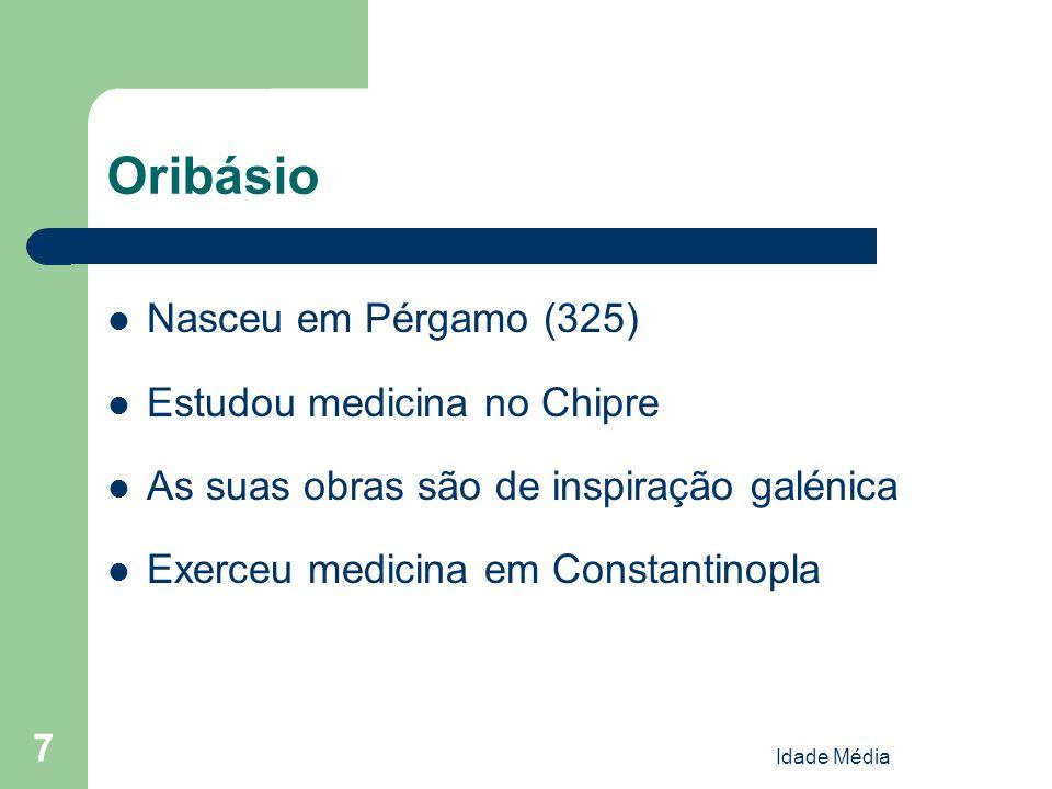 Oribásio Nasceu em Pérgamo (325) Estudou medicina no Chipre
