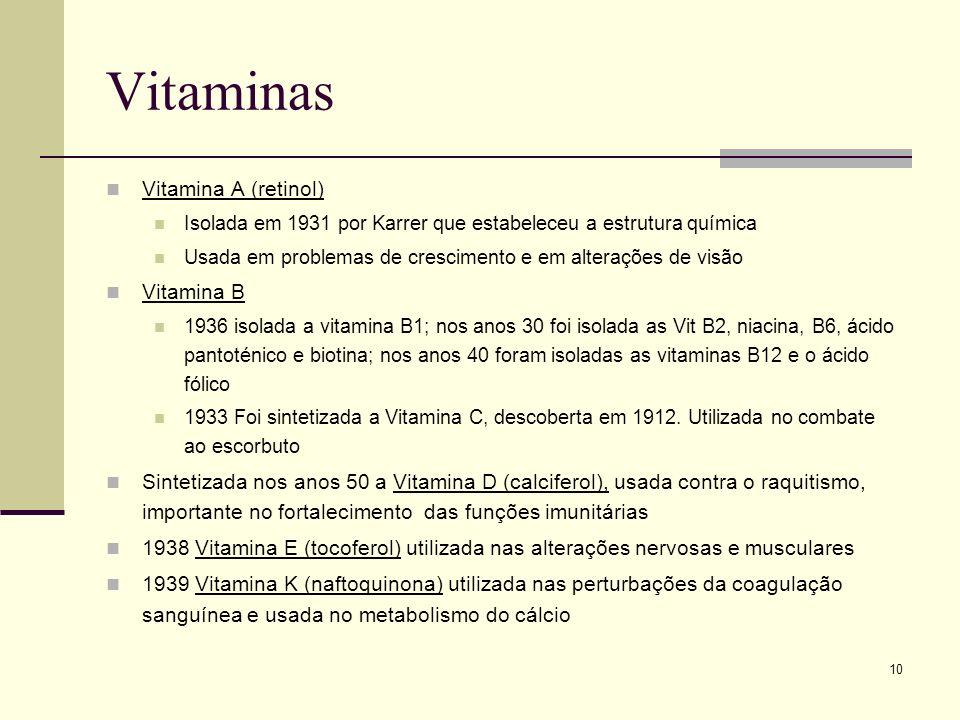 Vitaminas Vitamina A (retinol) Vitamina B