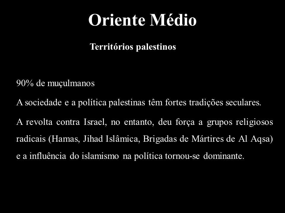 Oriente Médio Territórios palestinos 90% de muçulmanos