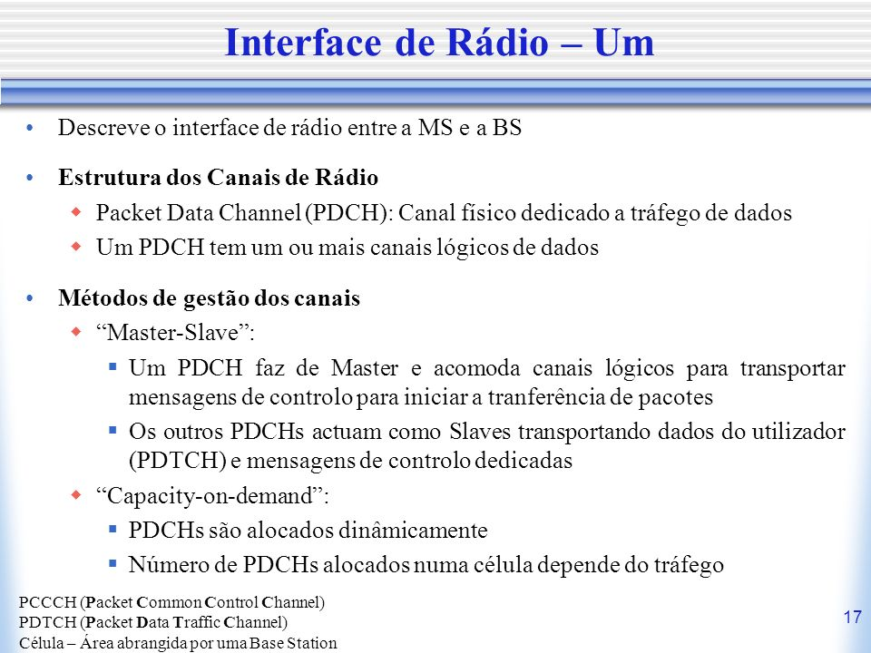 Interface de Rádio – Um Descreve o interface de rádio entre a MS e a BS. Estrutura dos Canais de Rádio.