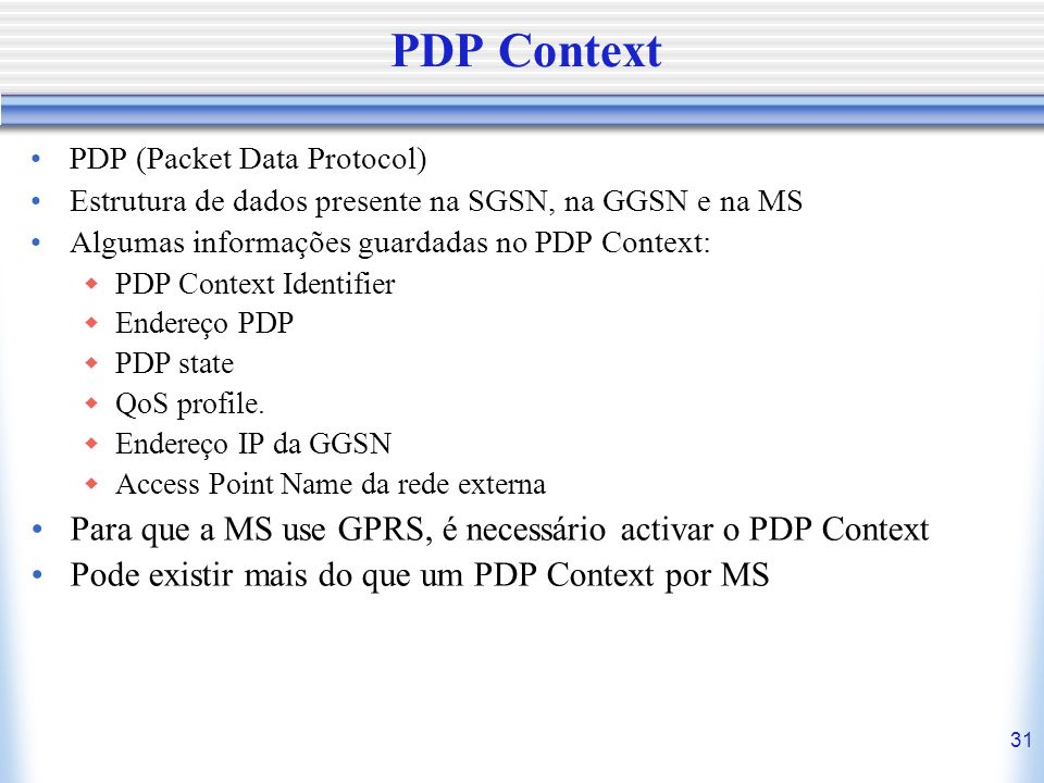 PDP Context Para que a MS use GPRS, é necessário activar o PDP Context
