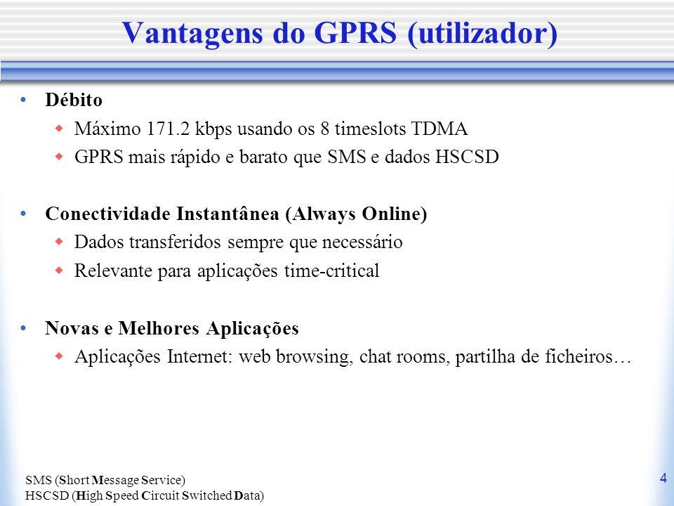 Vantagens do GPRS (utilizador)