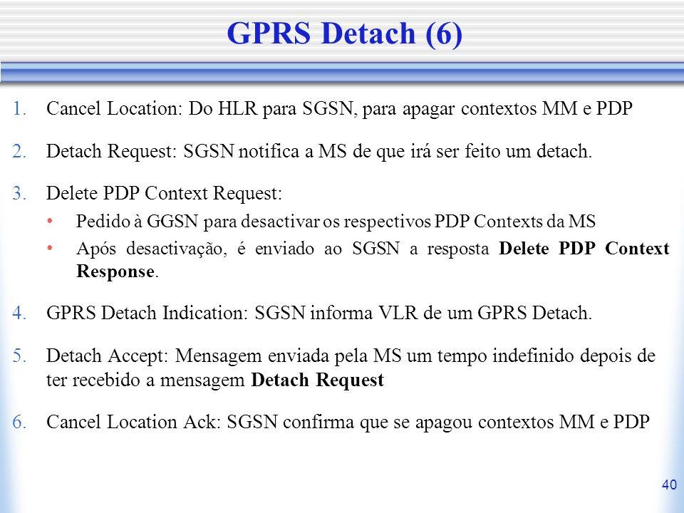 GPRS Detach (6) Cancel Location: Do HLR para SGSN, para apagar contextos MM e PDP.