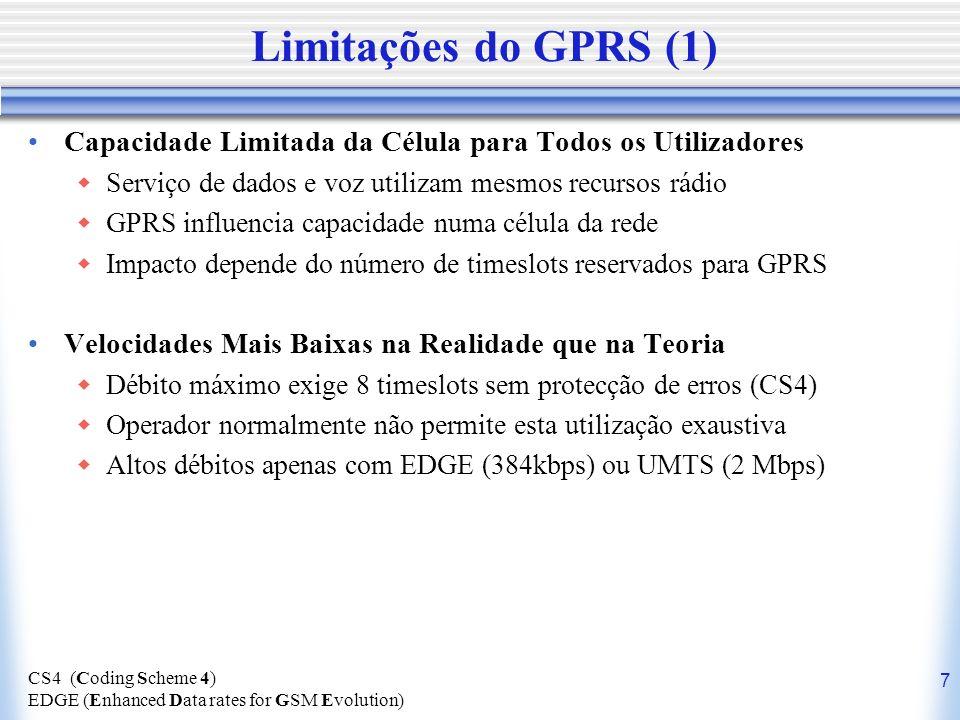 Limitações do GPRS (1) Capacidade Limitada da Célula para Todos os Utilizadores. Serviço de dados e voz utilizam mesmos recursos rádio.
