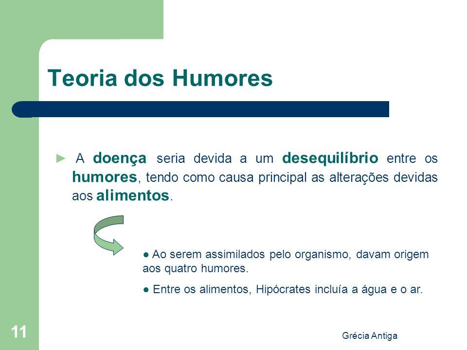 Teoria dos Humores ► A doença seria devida a um desequilíbrio entre os humores, tendo como causa principal as alterações devidas aos alimentos.
