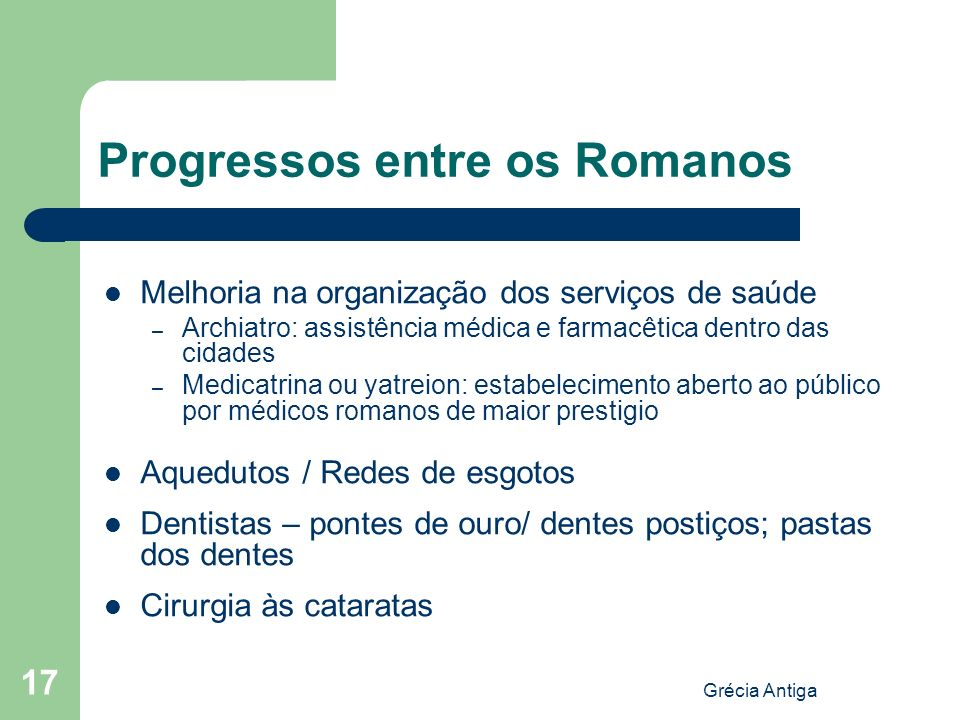 Progressos entre os Romanos