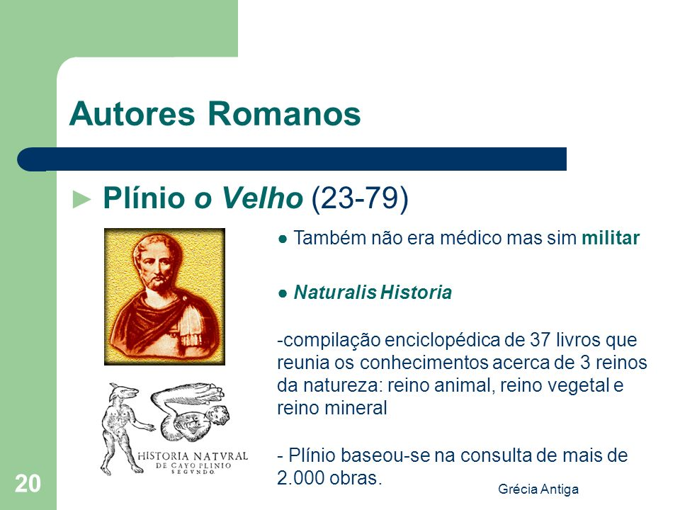 Autores Romanos ► Plínio o Velho (23-79)