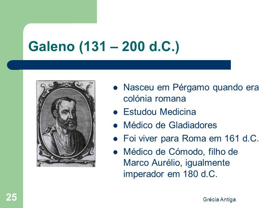 Galeno (131 – 200 d.C.) Nasceu em Pérgamo quando era colónia romana