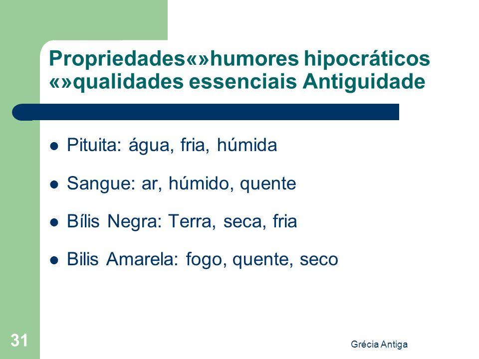 Propriedades«»humores hipocráticos «»qualidades essenciais Antiguidade