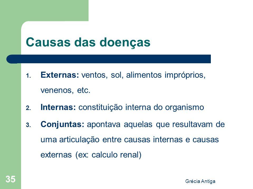 Causas das doençasExternas: ventos, sol, alimentos impróprios, venenos, etc. Internas: constituição interna do organismo.
