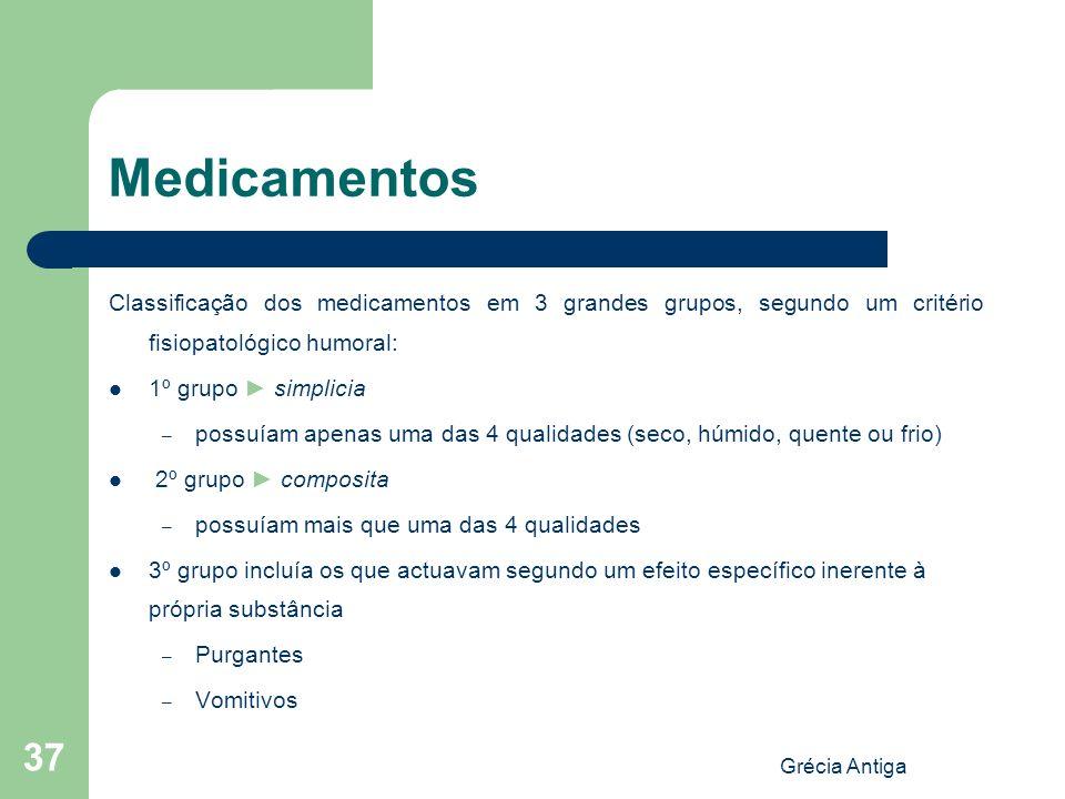 Medicamentos Classificação dos medicamentos em 3 grandes grupos, segundo um critério fisiopatológico humoral: