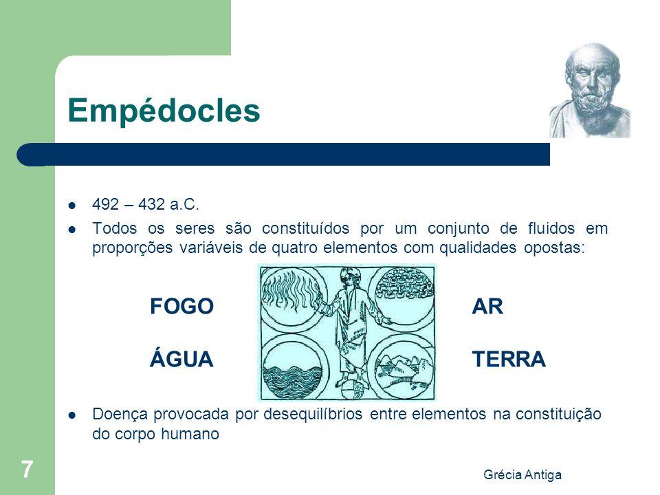 Empédocles FOGO ÁGUA AR TERRA 492 – 432 a.C.