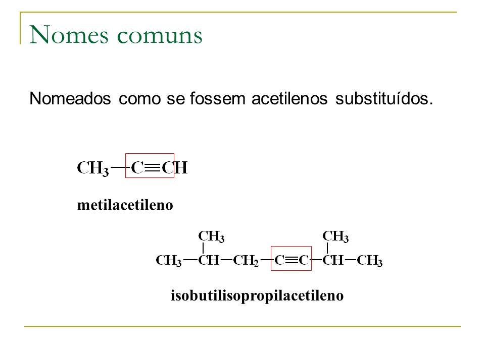Nomes comuns Nomeados como se fossem acetilenos substituídos.