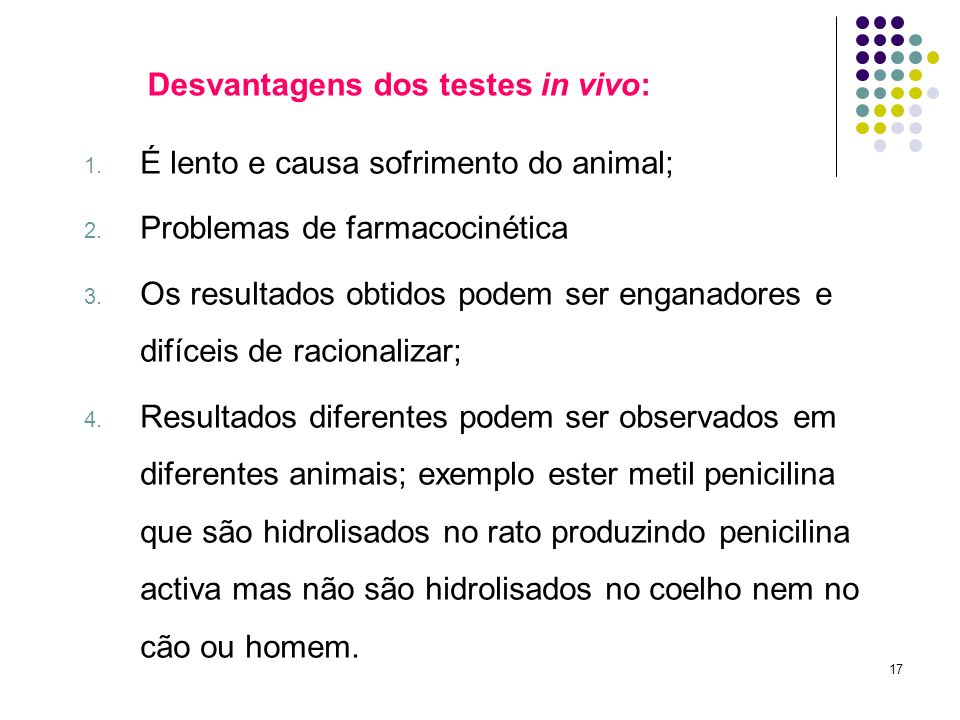 Desvantagens dos testes in vivo: