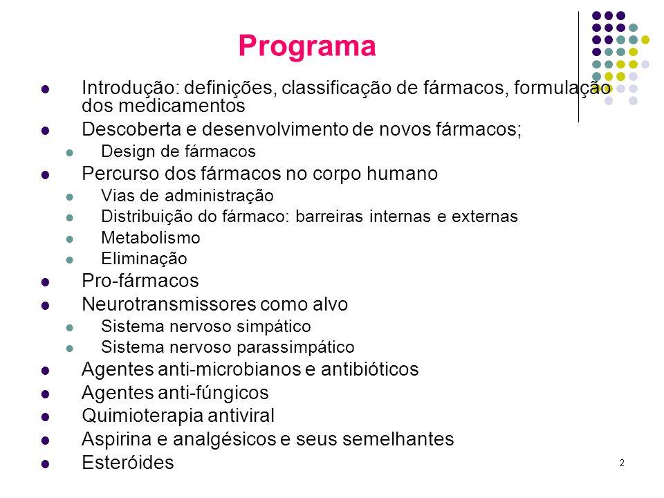 Programa Introdução: definições, classificação de fármacos, formulação dos medicamentos. Descoberta e desenvolvimento de novos fármacos;