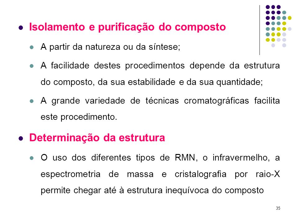 Isolamento e purificação do composto