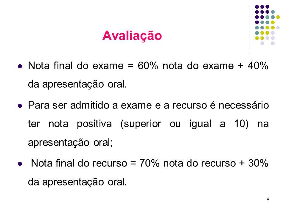 Avaliação Nota final do exame = 60% nota do exame + 40% da apresentação oral.