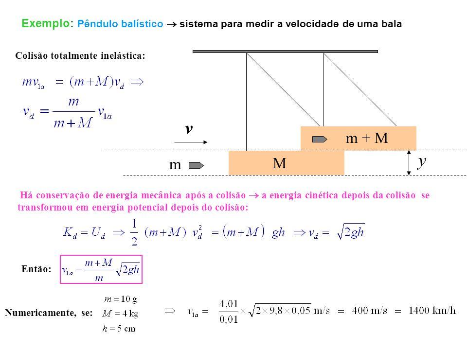 Exemplo: Pêndulo balístico  sistema para medir a velocidade de uma bala