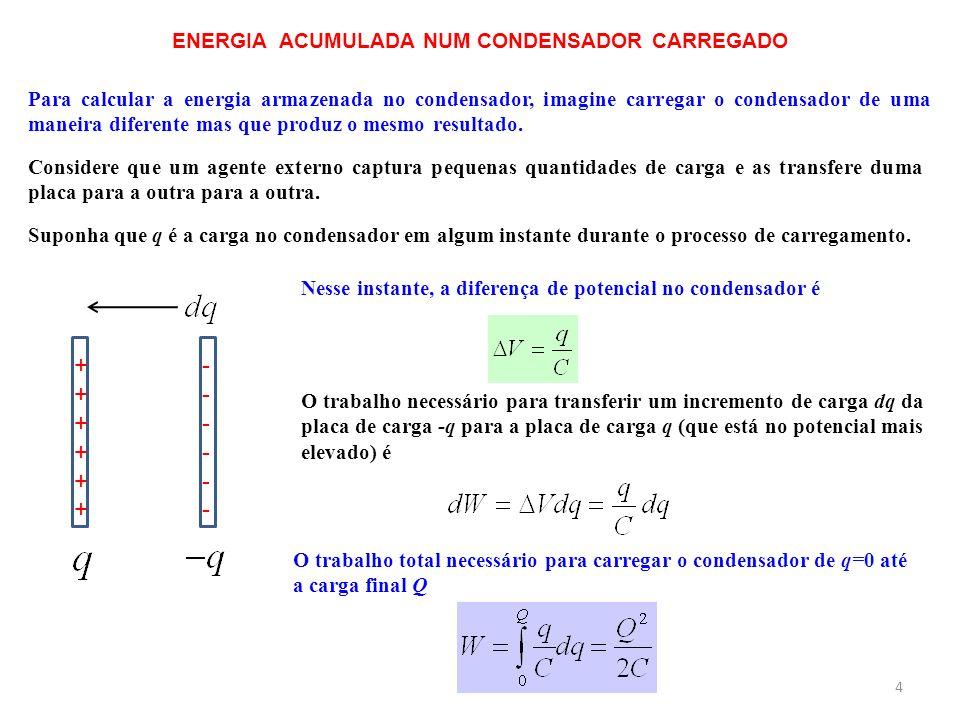 ENERGIA ACUMULADA NUM CONDENSADOR CARREGADO