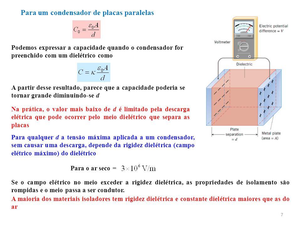 Para um condensador de placas paralelas