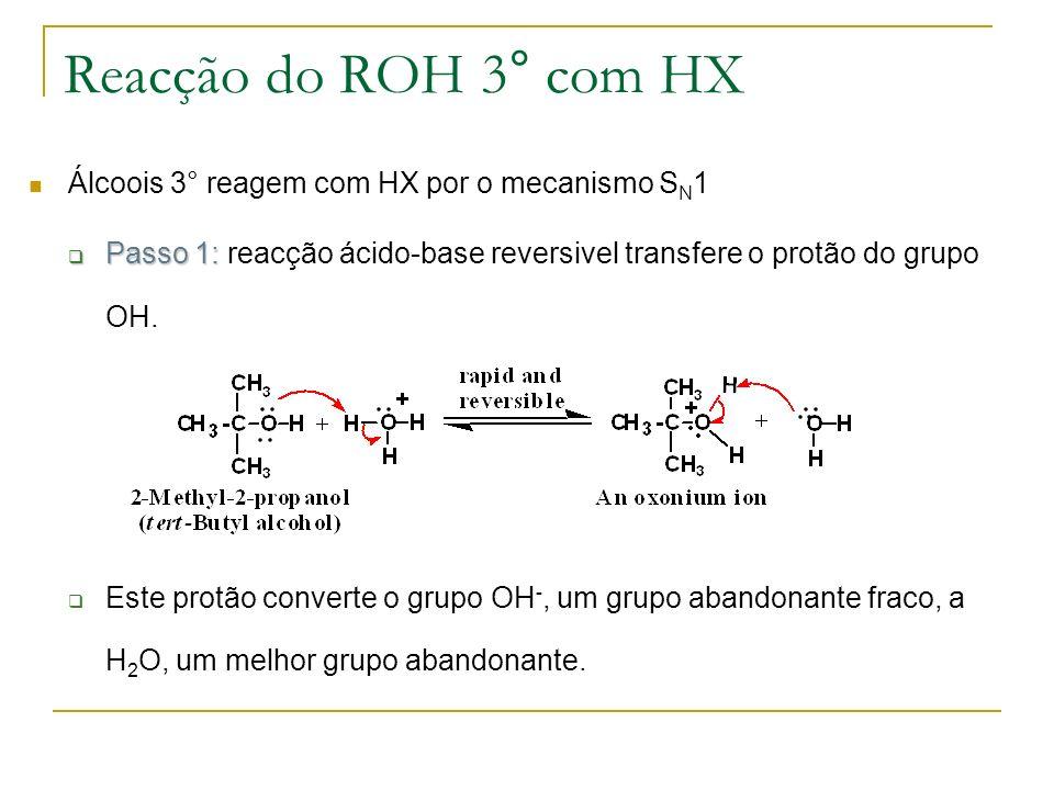 Reacção do ROH 3° com HX Álcoois 3° reagem com HX por o mecanismo SN1