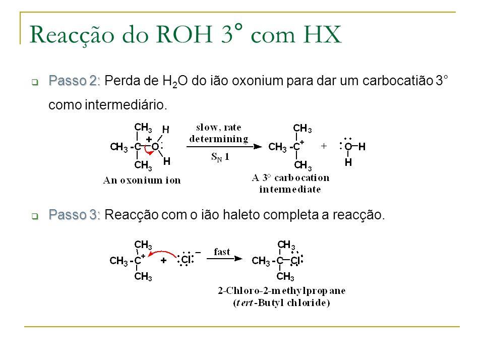 Reacção do ROH 3° com HX Passo 2: Perda de H2O do ião oxonium para dar um carbocatião 3° como intermediário.