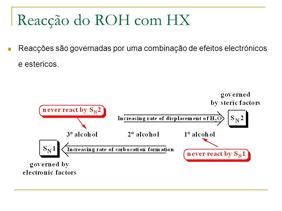 Reacção do ROH com HX Reacções são governadas por uma combinação de efeitos electrónicos e estericos.