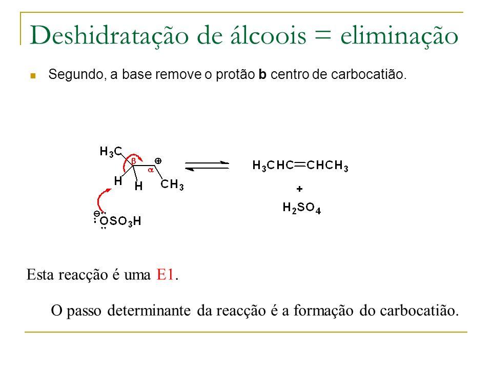 Deshidratação de álcoois = eliminação