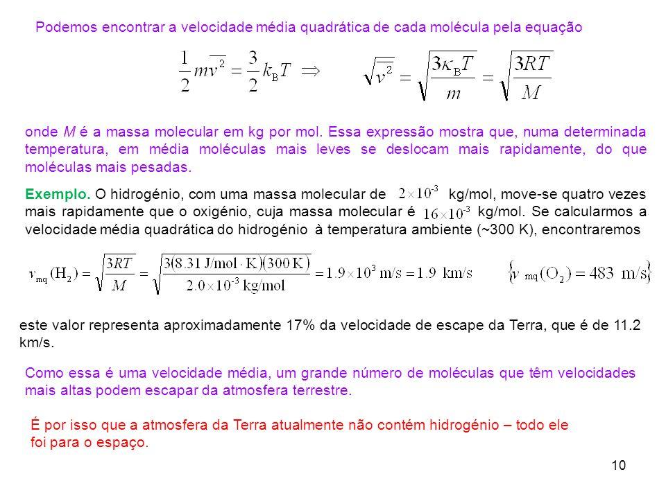Podemos encontrar a velocidade média quadrática de cada molécula pela equação