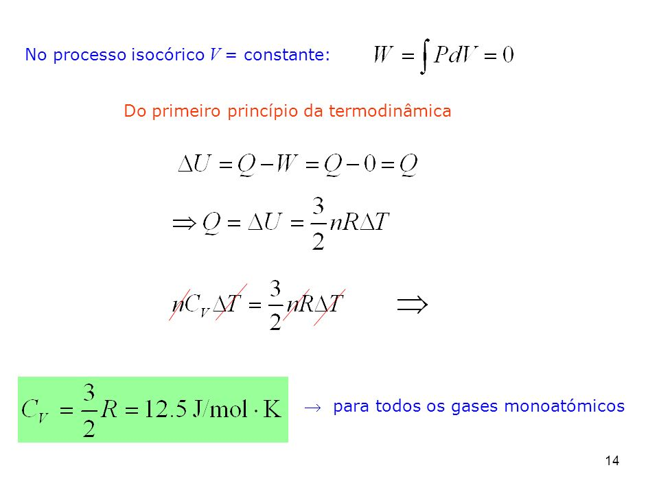 No processo isocórico V = constante: