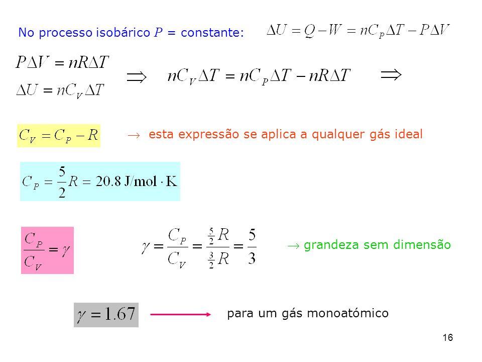 No processo isobárico P = constante: