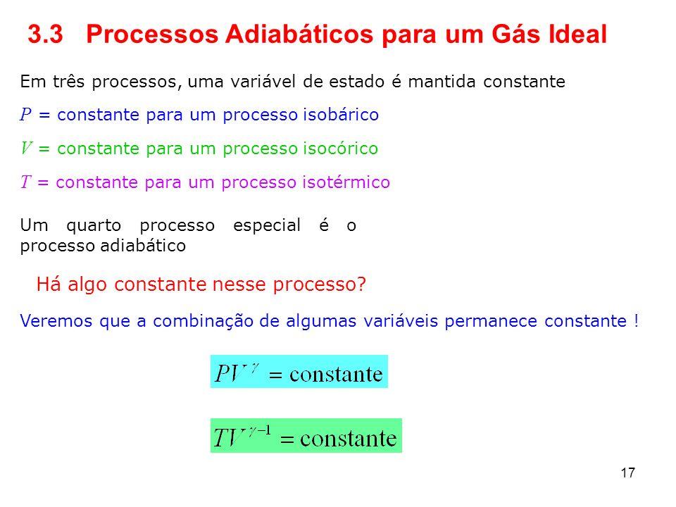 3.3 Processos Adiabáticos para um Gás Ideal