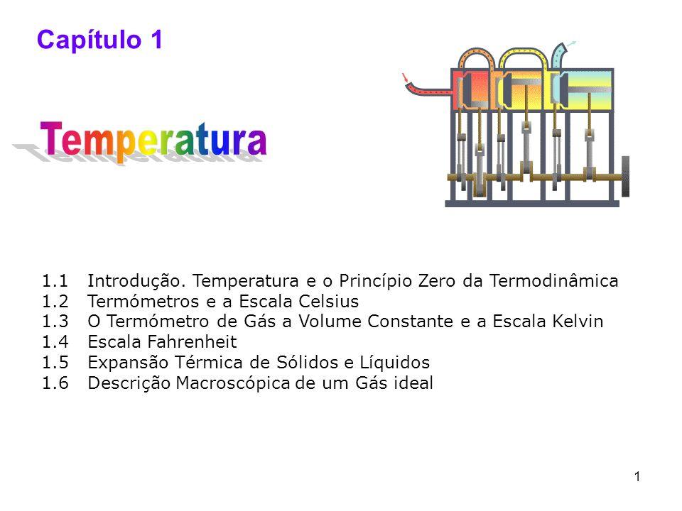 Capítulo 1 Temperatura. 1.1 Introdução. Temperatura e o Princípio Zero da Termodinâmica. 1.2 Termómetros e a Escala Celsius.
