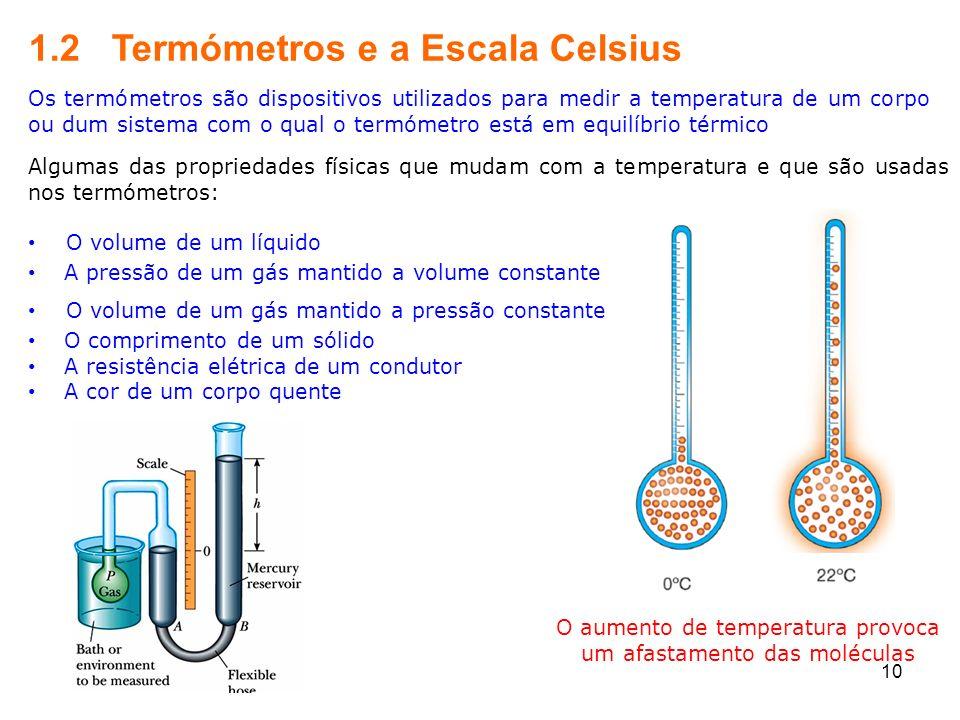 O aumento de temperatura provoca um afastamento das moléculas
