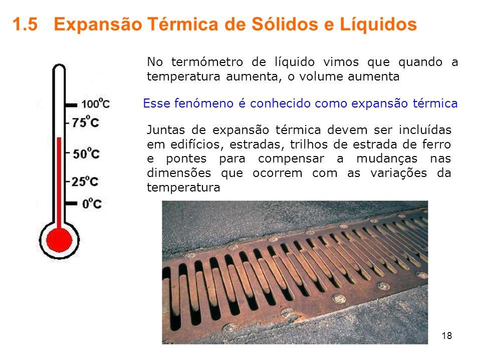 1.5 Expansão Térmica de Sólidos e Líquidos