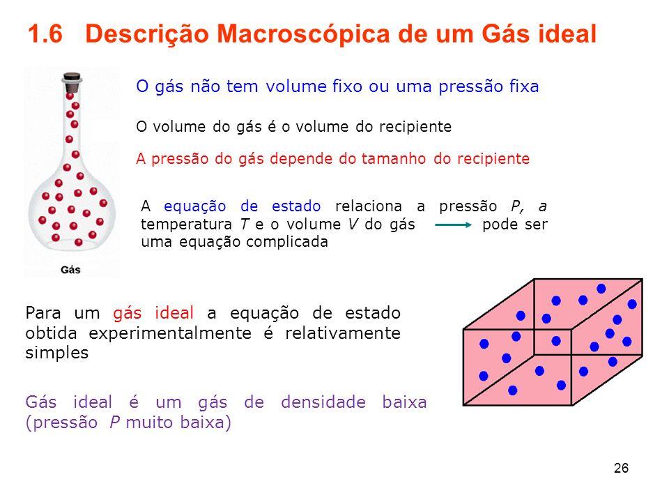 1.6 Descrição Macroscópica de um Gás ideal