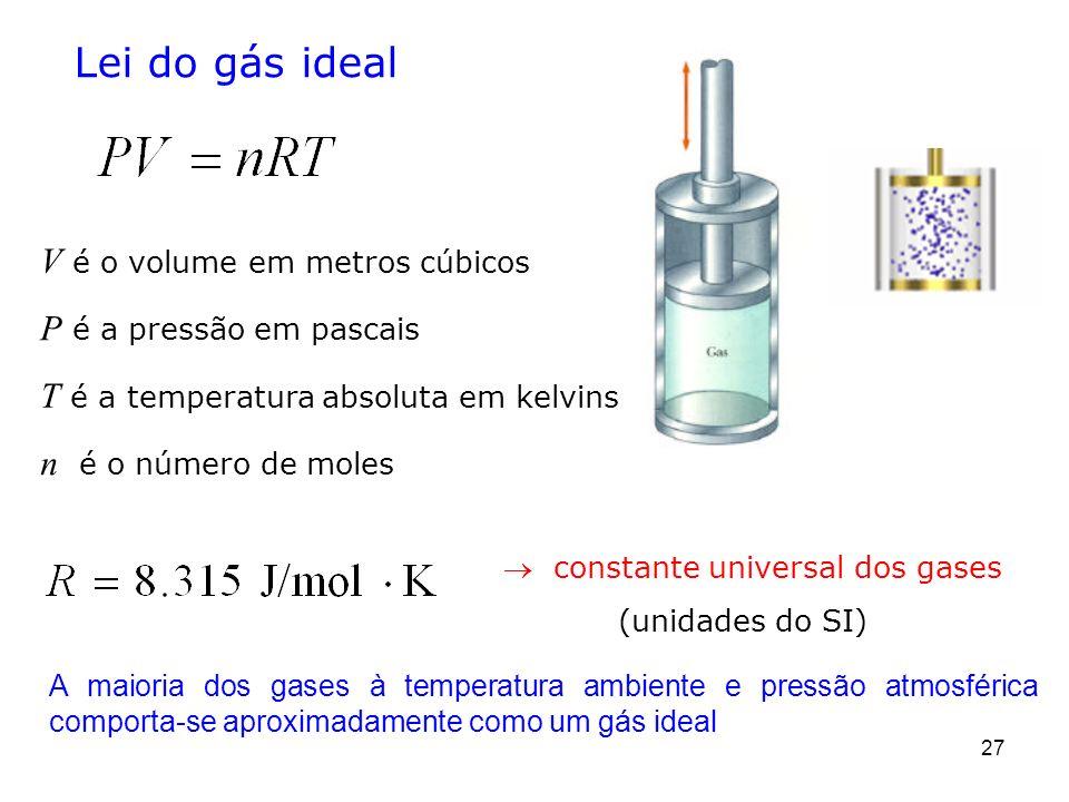 Lei do gás ideal V é o volume em metros cúbicos