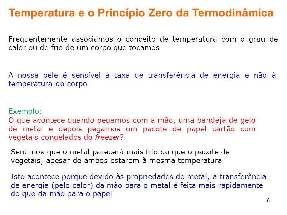 Temperatura e o Princípio Zero da Termodinâmica