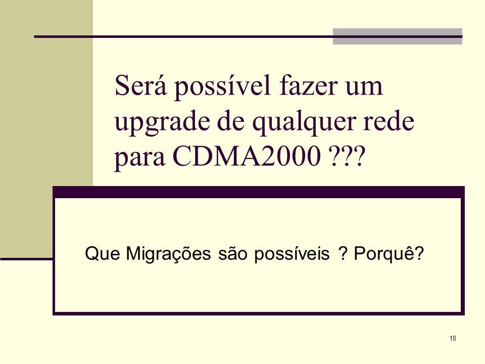 Será possível fazer um upgrade de qualquer rede para CDMA2000