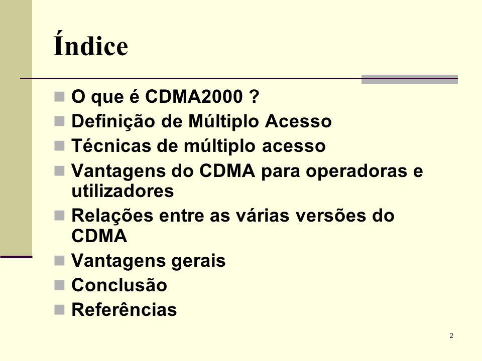 Índice O que é CDMA2000 Definição de Múltiplo Acesso