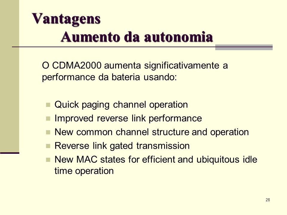 Vantagens Aumento da autonomia