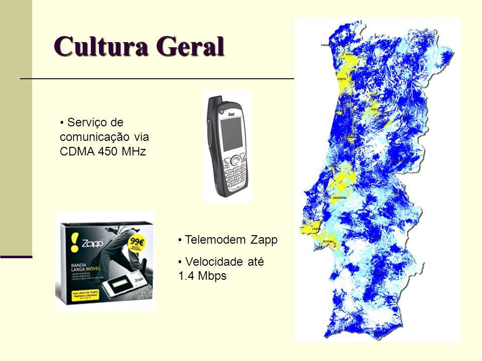 Cultura Geral Serviço de comunicação via CDMA 450 MHz Telemodem Zapp