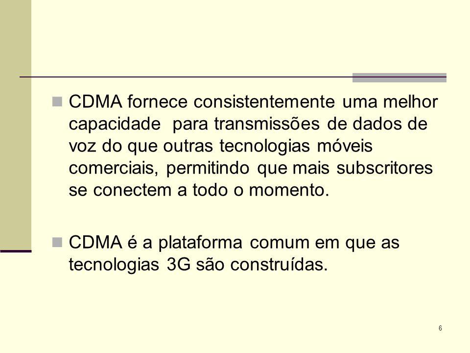 CDMA fornece consistentemente uma melhor capacidade para transmissões de dados de voz do que outras tecnologias móveis comerciais, permitindo que mais subscritores se conectem a todo o momento.