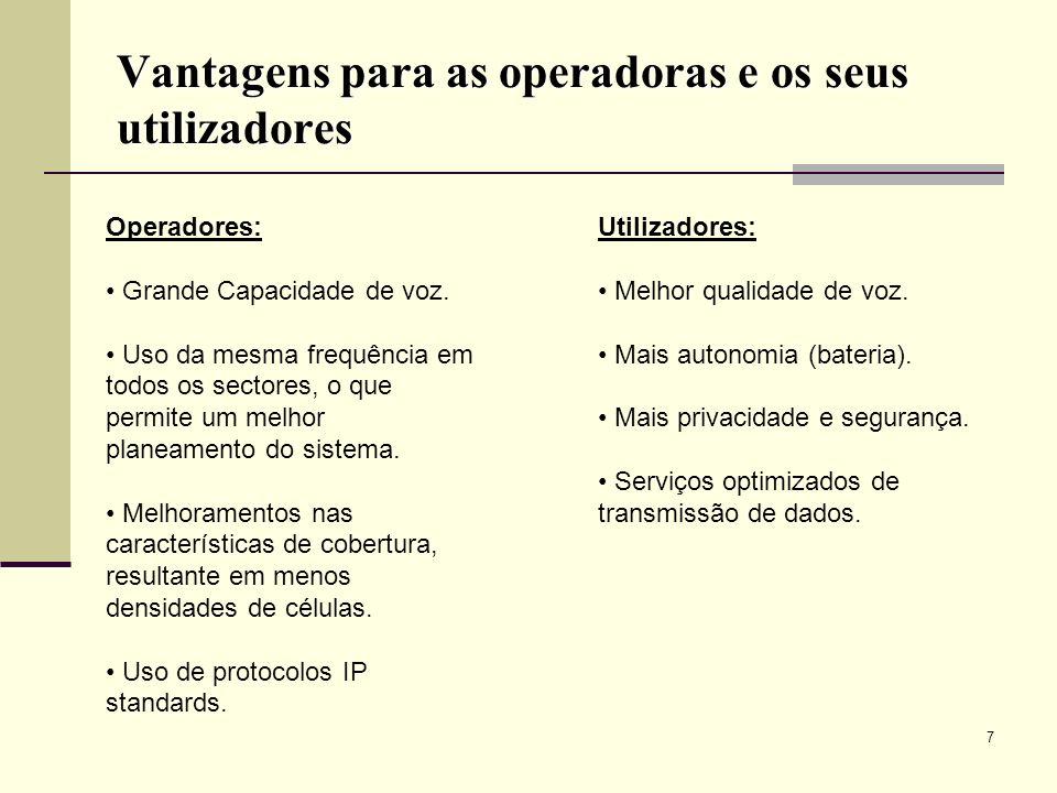 Vantagens para as operadoras e os seus utilizadores